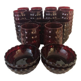 Mid Century Anchor Hocking Ruby Bubble Glassware - Set of 17 For Sale