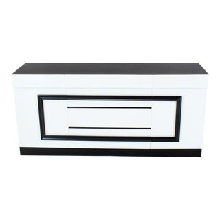 Two-Tone Black and White Lacquer 10 Drawers Dresser Cabinet For Sale