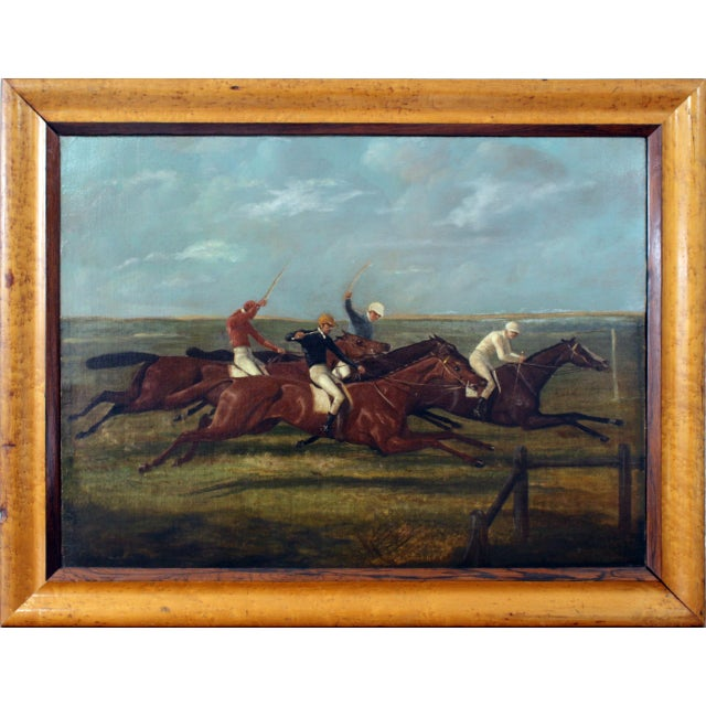 Wood Antique Horse Racing Painting For Sale - Image 7 of 7