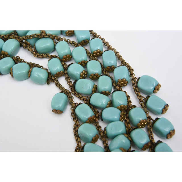 Miriam Haskell Miriam Haskell Turquoise Glass Bead and Metal Bib Necklace Vintage For Sale - Image 4 of 9