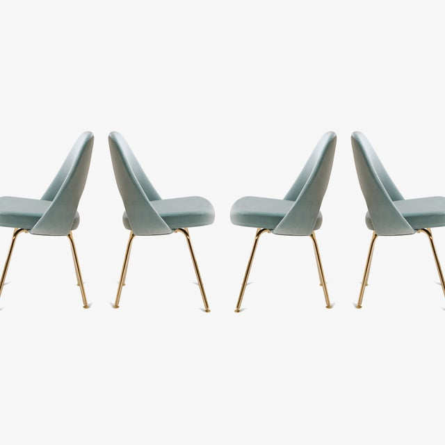 Mid-Century Modern Original Vintage Saarinen Executive Armless Chairs Restored in Celadon Velvet, Custom 24k Gold Edition - Set of 6 For Sale - Image 3 of 7
