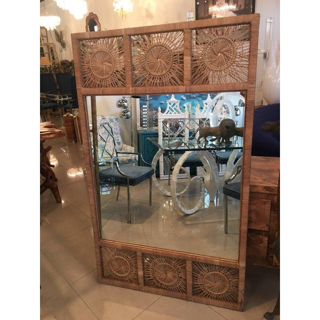 Oversized vintage rattan, bamboo wall mirror. Perfect for the tropical island, palm beach, Boho decor!