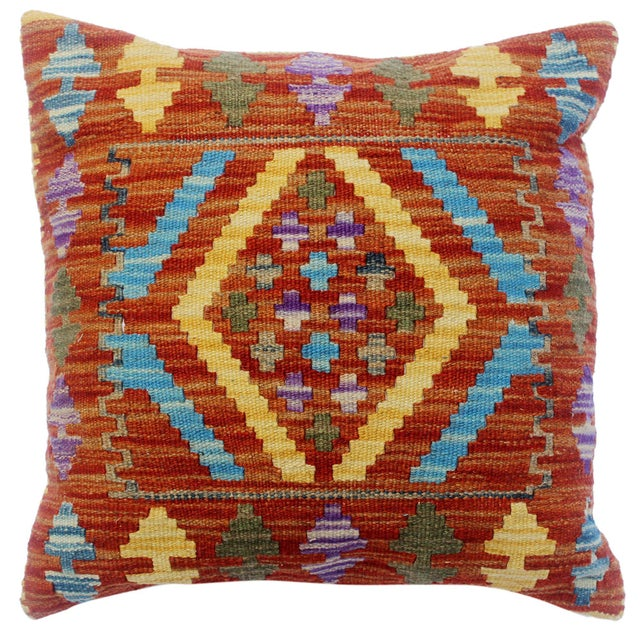 "Chau Rust/Gold Hand-Woven Kilim Throw Pillow(18""x18"") For Sale In New York - Image 6 of 6"