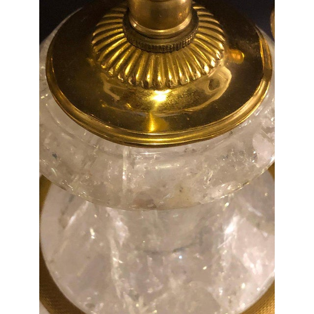 White Pair of Palatial Gilt Gold and Rock Crystal Urn Form Table Lamps For Sale - Image 8 of 13