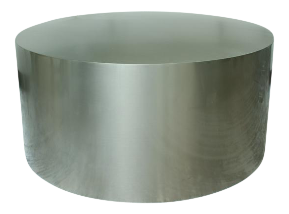 Sophisticated Milo Baughman Brushed Steel Drum Table | DECASO