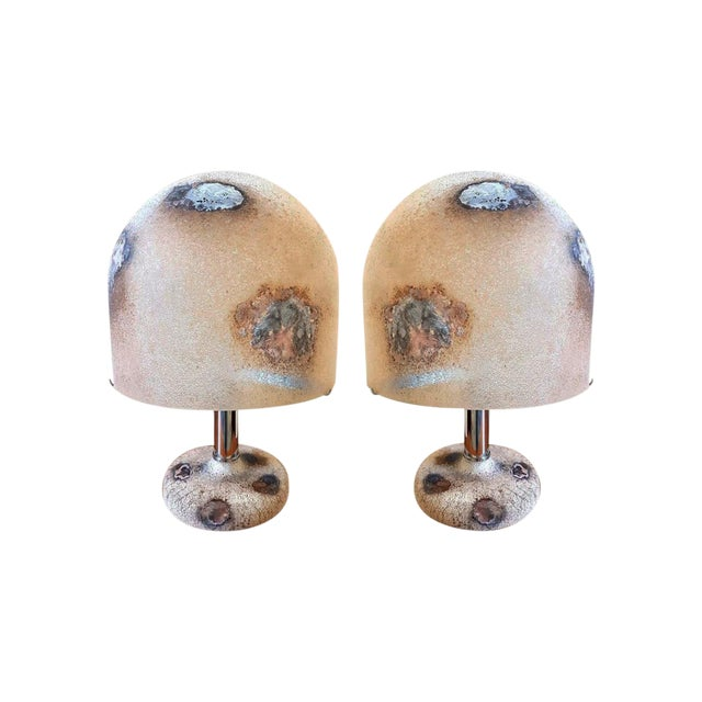 Pair of Alfredo Barbini Murano Glass Lamps For Sale