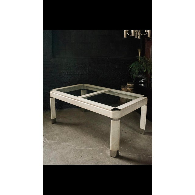 Ivory 1980s Modernist Lacquered Ivory Parchment Skin, Chrome & Glass Extendable Dining Table For Sale - Image 8 of 13