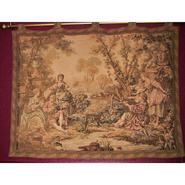 Late 19th Century 19c Flemish Wall Tapestry of Country Scene For Sale - Image 5 of 7
