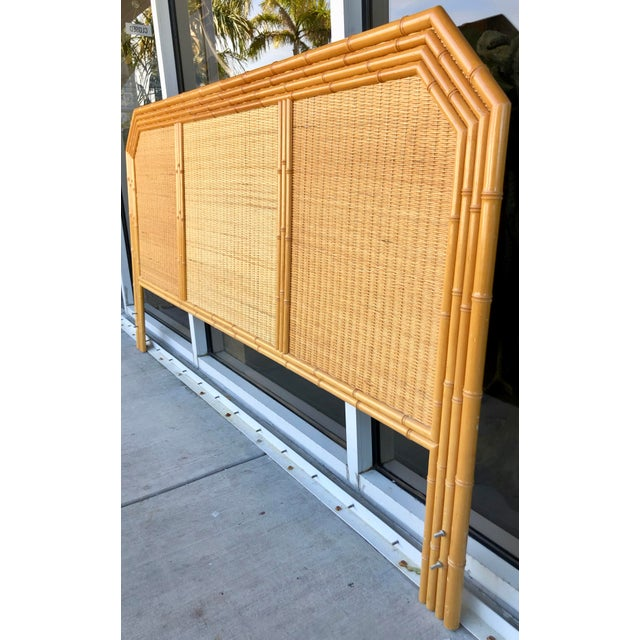 Coastal Bamboo/Rattan King Size Headboard For Sale - Image 3 of 8