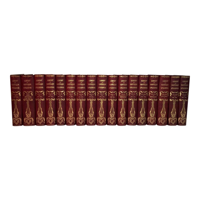 Antique Red Leather Library of Southern Literature Books - Set of 17 For Sale