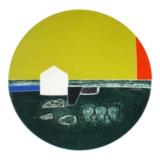"""Gary Lee Shaffer """"Summer House"""" Circular Abstract Collograph Print, 1976 1976 For Sale"""
