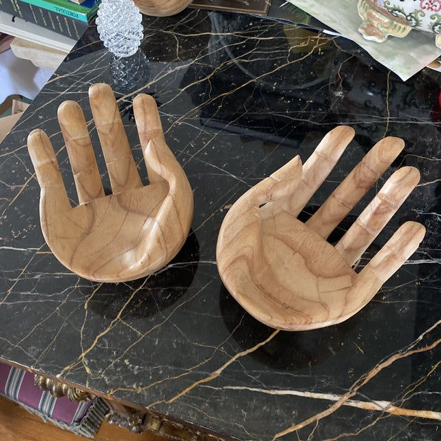 Wood Wooden Hand Bowls** - a Pair For Sale - Image 7 of 7