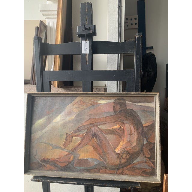 """""""Afternoon Image"""" oil on board by Colorado artist Lou Rogers in good condition. The paper on verso has started to tear but..."""