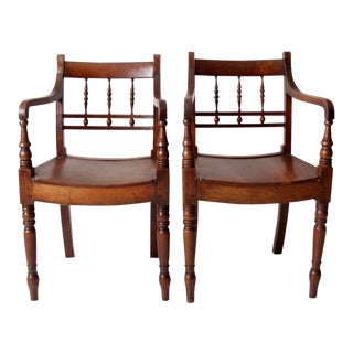 Antique Wooden Parlor Chairs - Set of 2 For Sale