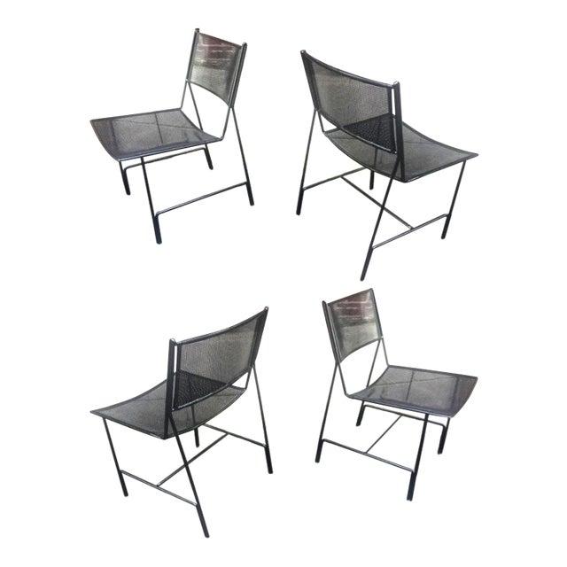 """Mathieu Mategot Unique Set of Four Black Metal Chair Models """"Panamera"""" For Sale"""