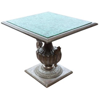 French Malachite Table W/ Silver Gilt Carved Base For Sale
