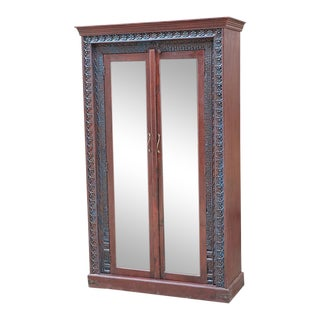 Late 1800s Carved Glass Door Bar Armoire For Sale