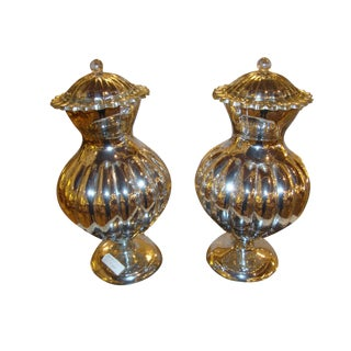Mercury Glass Lidded Ginger Jars- A Pair For Sale