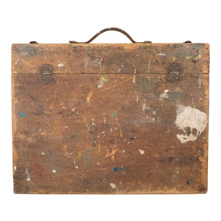 Late 19th Century Antique Distressed Wooden Artist's Paint Box For Sale