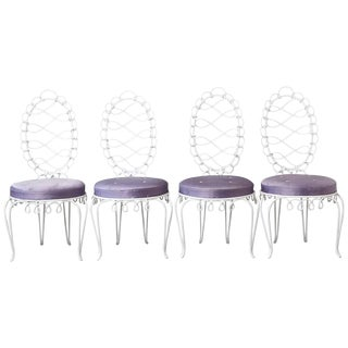 Set of Four 'Fer Forgé Rond' Iron Chairs Designed by René Prou, Circa 1940s