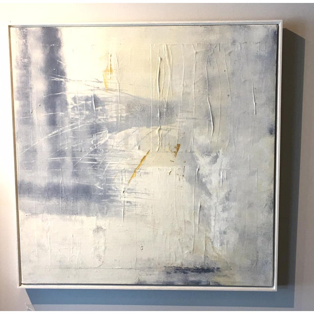 This painting is filled with subtlety and texture created by layering paint and color to achieve a melange of soft grays,...