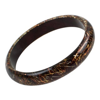 Lucite Bracelet Bangle Copper and Silver Metallic Thread Inclusions For Sale