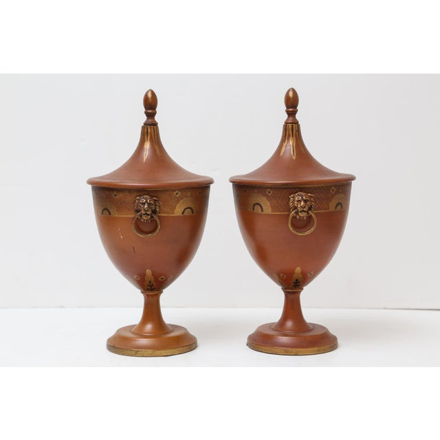 Antique Continental Tole Ware Chestnut Urns - A Pair For Sale - Image 5 of 6