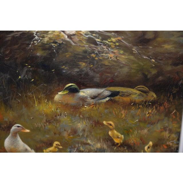 Rustic Hendrik Breedveld (Netherlands, B.1918) a Brood of Ducks at Waters Edge C.1950s For Sale - Image 3 of 11