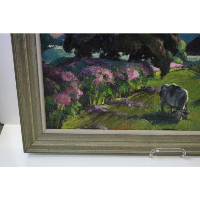 """""""Eventide"""" Cow Oil Painting by Buchholz For Sale In New York - Image 6 of 9"""