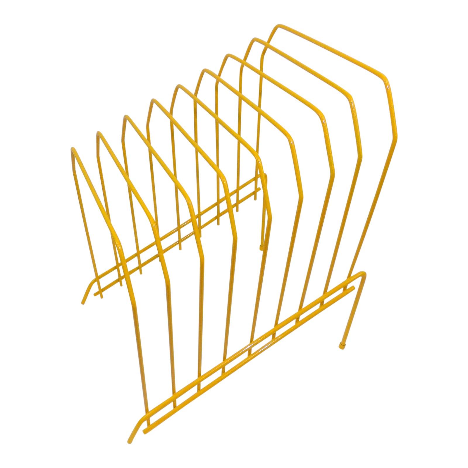 Yellow Metal Mail File Holder - Vinyl Record Rack | Chairish