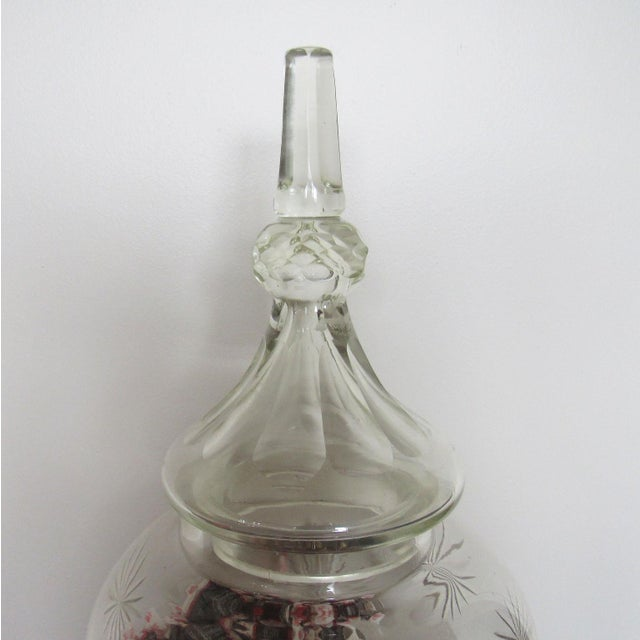 """Crystal Pair 30"""" Tall Cut Crystal Glass Lidded Apothecary Jars For Sale - Image 7 of 11"""