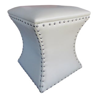 Cream Colored Hassock with Chrome Tacks
