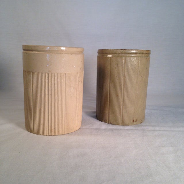 Vintage English Crock Storage Jars - a Pair - Image 2 of 4