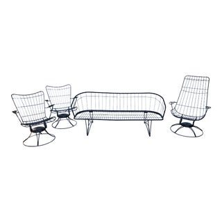 Vintage Mid Century Homecrest Indoor/Outdoor Iron Sofa and 3 Swivel Chairs - Set of 4 For Sale