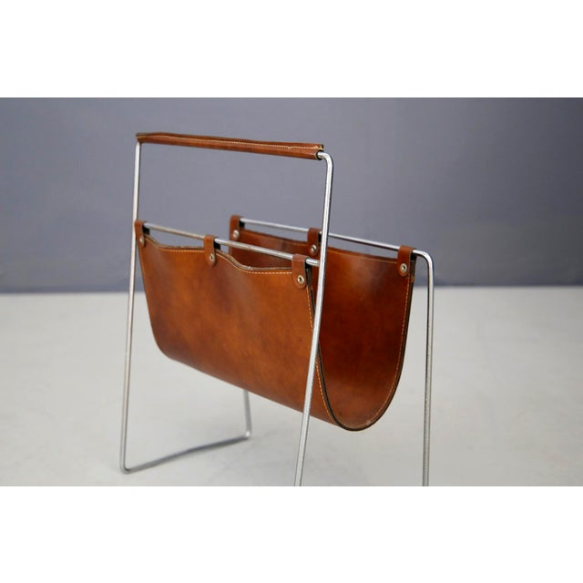 Carl Auböck II MidCentury Magazine Holder in Leather and Steel, 1950's For Sale - Image 9 of 11