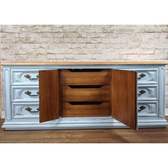 Boho Chic Modern Farmhouse Dresser Country Cottage French Distressed Rustic Blue Buffet Sideboard