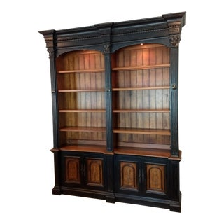 Most Excellent for Your Home or Office: Hooker Furniture Double Credenza & Double Bookcase Library Cabinet - 2 Pieces - North Hampton Collection For Sale
