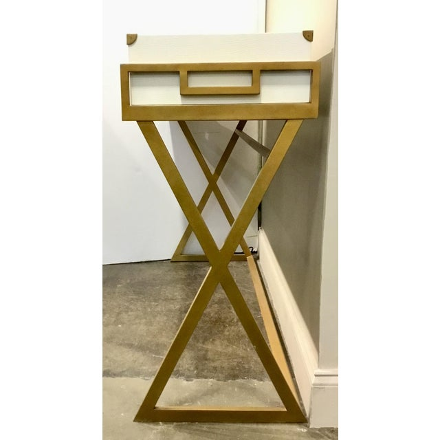 Currey & Co. Modern Regency White and Brass Console Table For Sale In Atlanta - Image 6 of 7