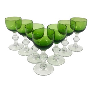 20th Century Italian Green Cordial Glasses - Set of 7 For Sale