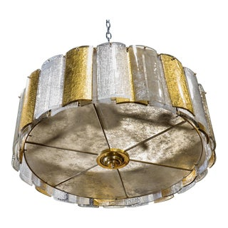 Large Murano Hanging Drum Shaped Fixture with Gold and Clear Glass Panels