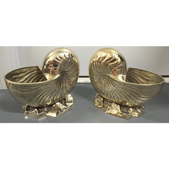 Vintage Brass Nautilus Shell Planters - A Pair - Image 4 of 8