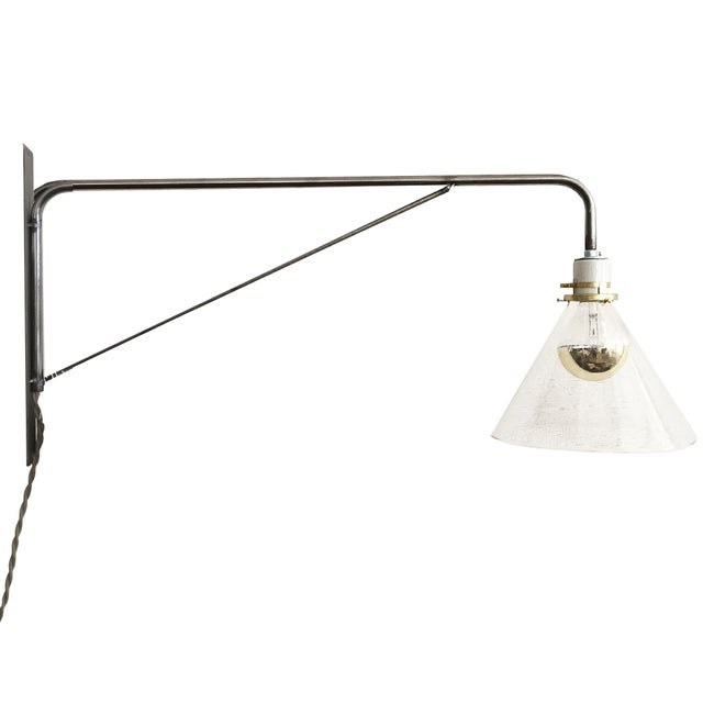 Industrial Derian Steel Glass Sconce - Image 1 of 2