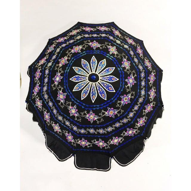 Sun Umbrella Garden Umbrella, Embroidered Cotton - Image 11 of 11