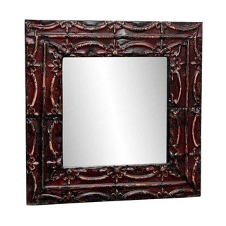 Burgundy Floral Tin Mirror with Ribbon Design For Sale