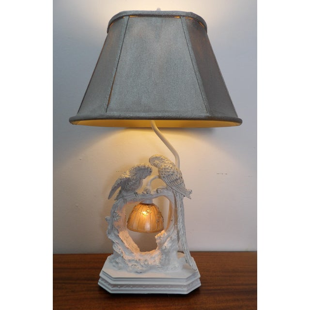 Parakeet Lamp in White Lacquer With Multiple Setting Lights With Silver Shade For Sale - Image 10 of 11