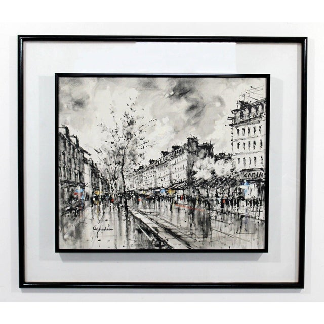 Mid-Century Modern Framed Paris Street Scene Oil Painting on Canvas Signed For Sale - Image 11 of 11