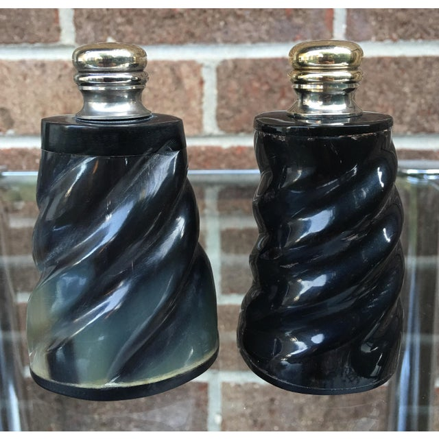 Black Horn & Silver Plate Salt & Pepper Shaker Set - Image 6 of 6