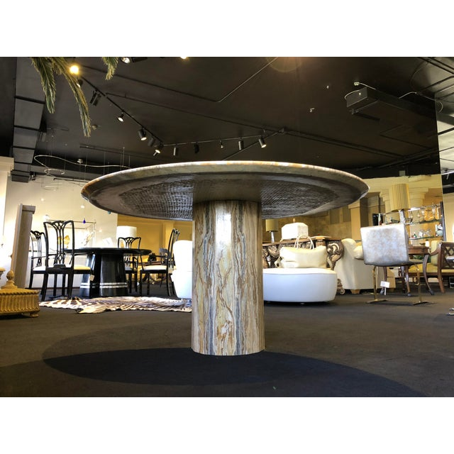 1980s Contemporary Italian Travertine Stone Table For Sale In West Palm - Image 6 of 11