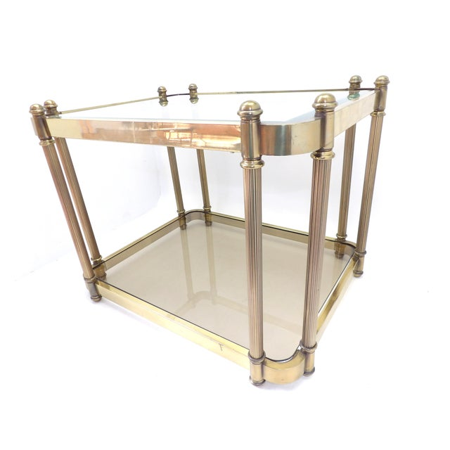 1960s 1960's Hollywood Regency Brass 2 Tier Glass Side Table For Sale - Image 5 of 10