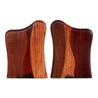 Mid Century Modern Biomorphic Rare Woods Bookends in the Manner of Don Shoemaker - a Pair For Sale